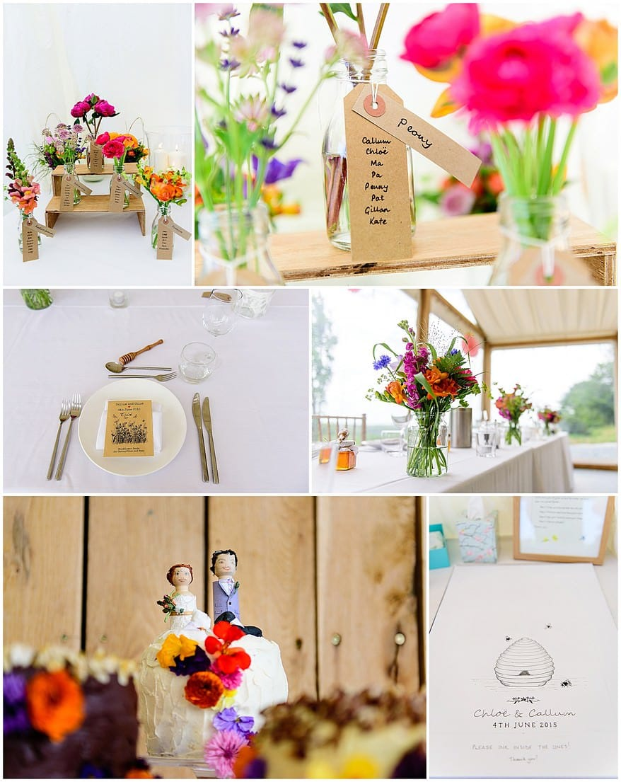 Wedding table details at Trevenna Barns