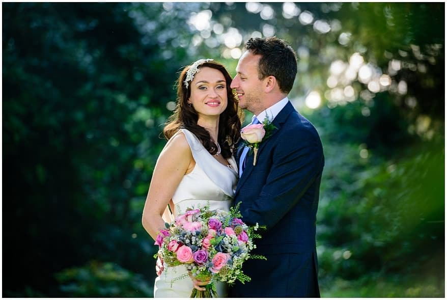 bride and groom at their autumn wedding in Cornwall
