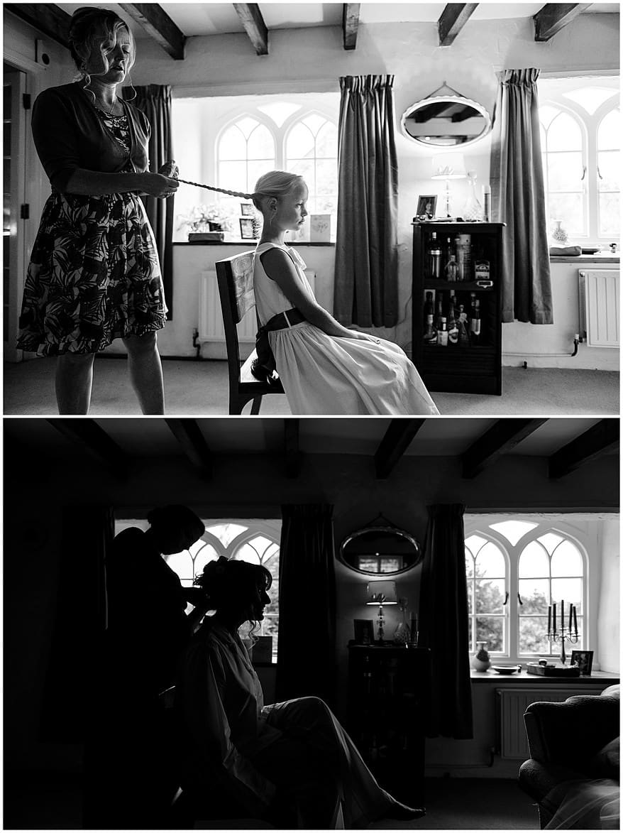 brides having her hair done for a village fete themed wedding