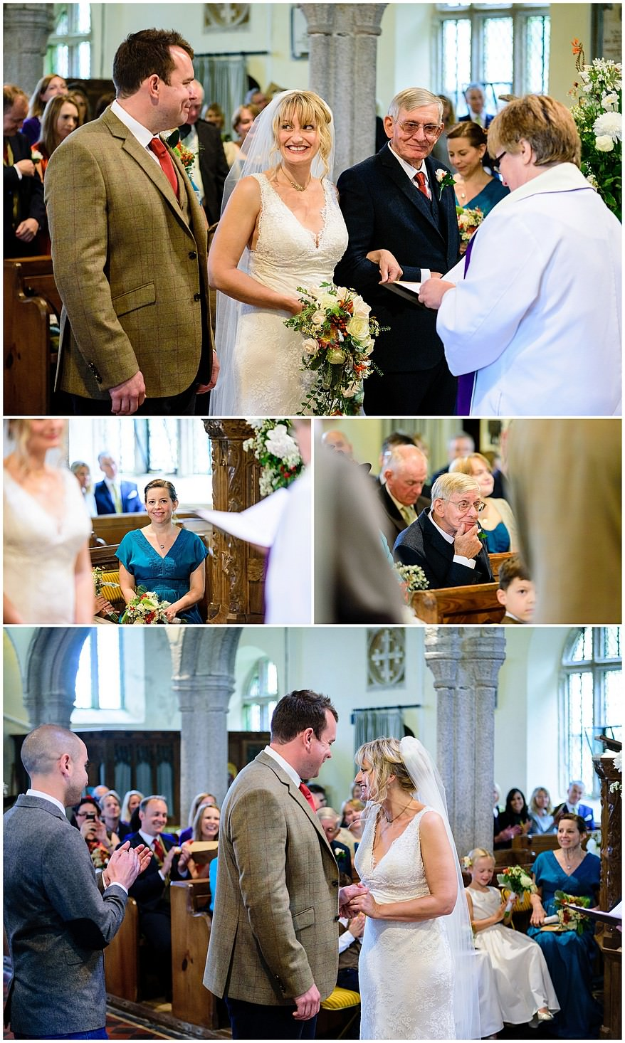 reportage wedding photography at Saint Martin's church at Lewannick