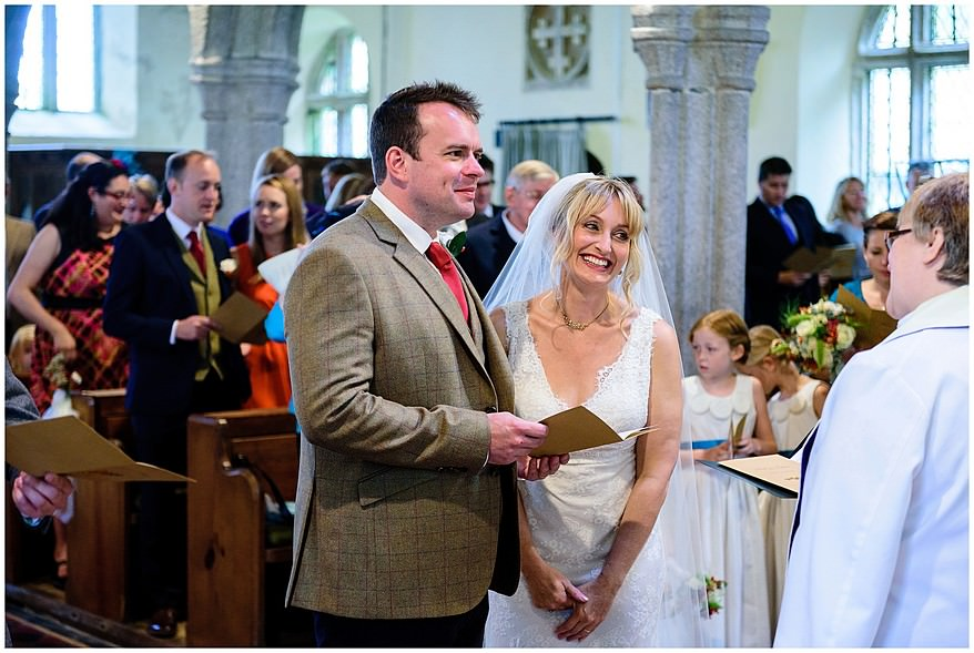 wedding ceremony at Saint Martin's church at Lewannick in Cornwall