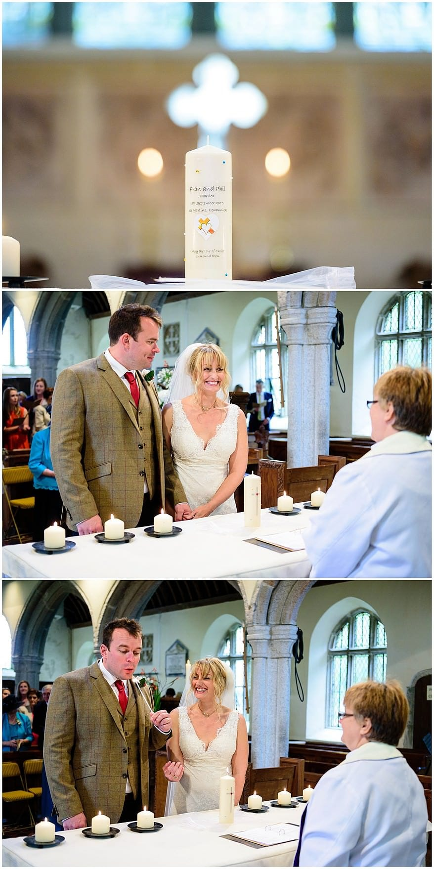 Documentary wedding photography at Saint Martin's church in Lewannick