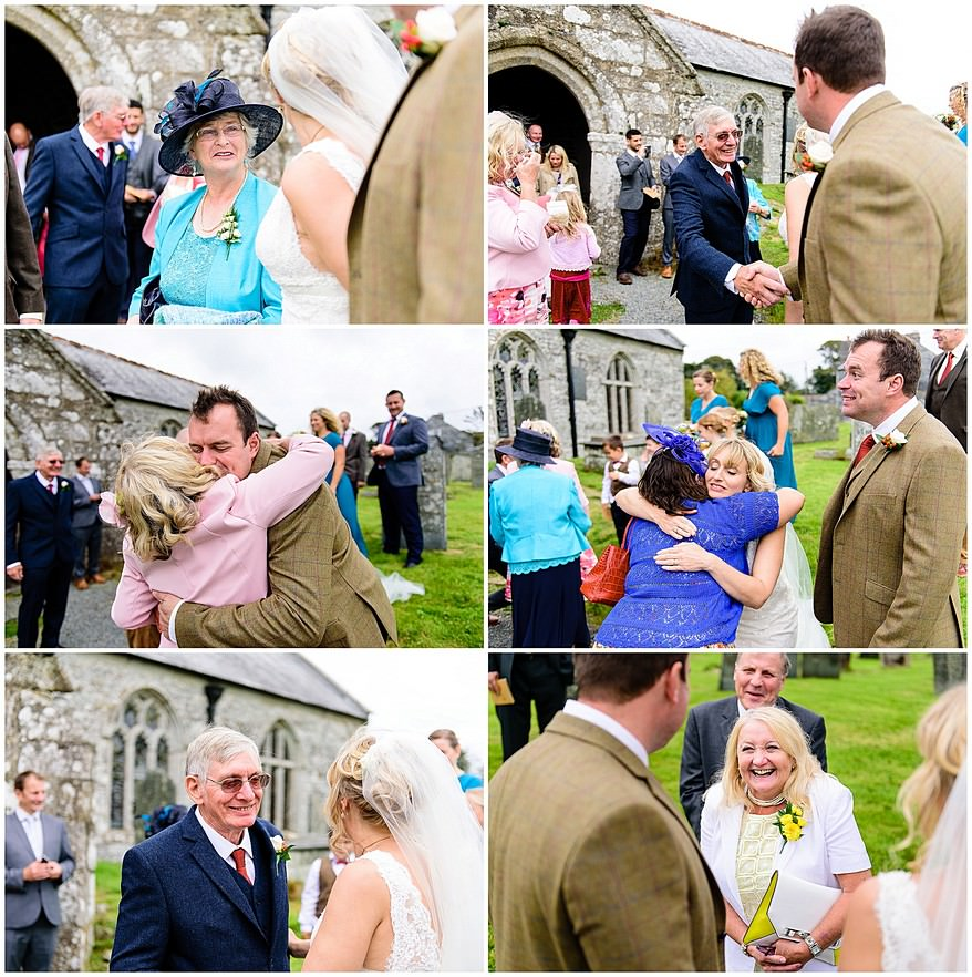 candid wedding photography at Saint Martin's church in Lewannick