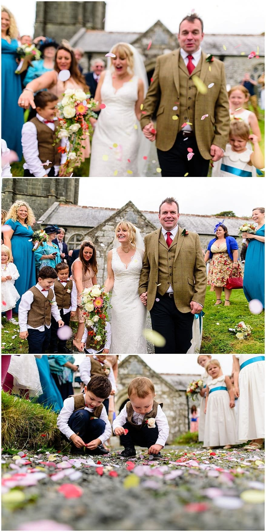 Confetti photographs at Saint Martin's church in Lewannick