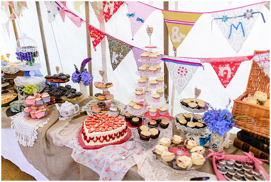 cakes at village fete themed wedding