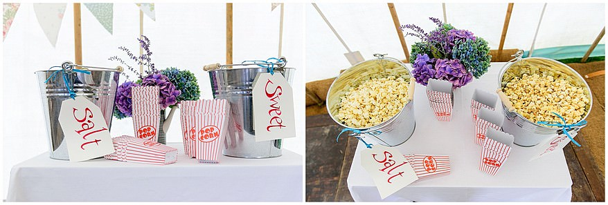 pop corn at a village fete themed wedding