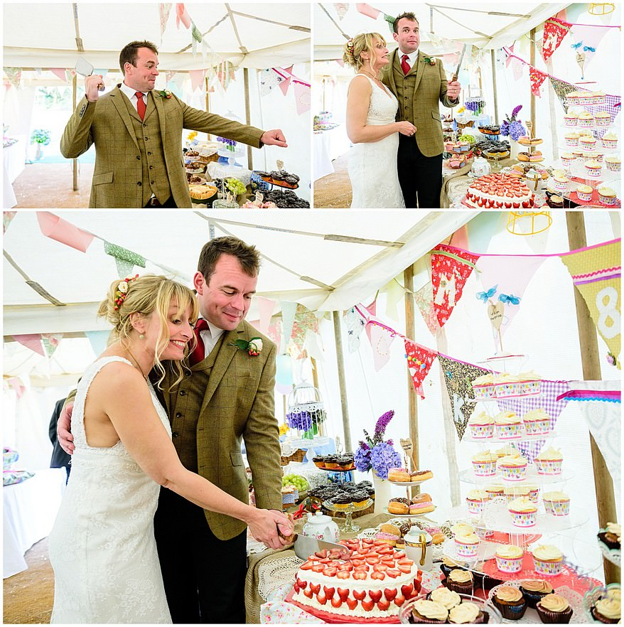bride and groom cutting their cake at a village fete themed wedding