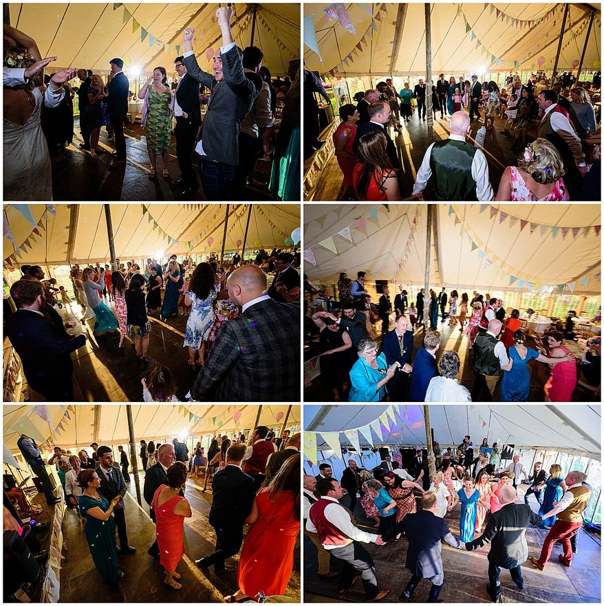 ceilidh dancing at a coads green village hall wedding