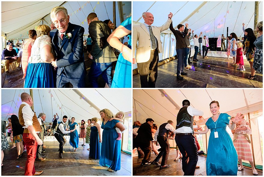 ceilidh dancing at a village fete themed wedding