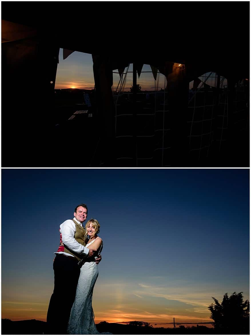sunset at a Coads green village hall wedding