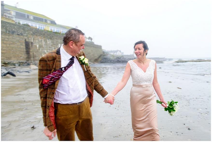 Wet winter wedding in Cornwall