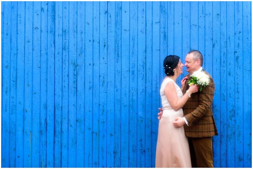 Bride and groom sooked at their winter wedding in Cornwall