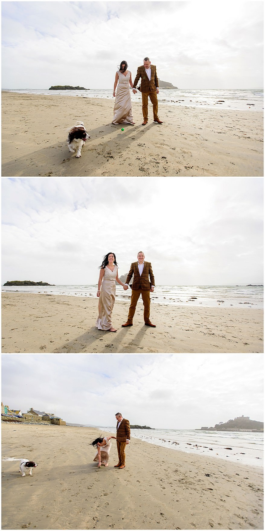 Bride and groom on Marazion beach for wedding photographs infront of st michael's mount