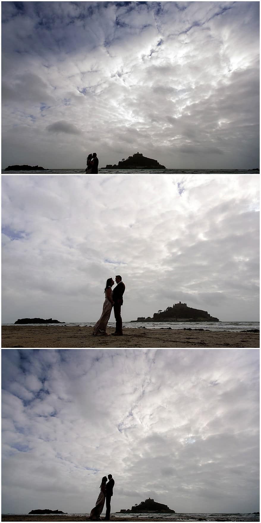 Dramatic wedding photographs at St Michael's mount