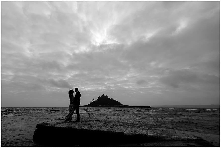 Stormy weather wedding at St Michael's mount
