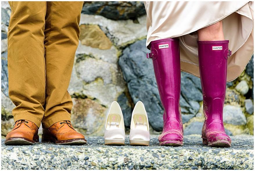 wedding shoes at the marazion beach