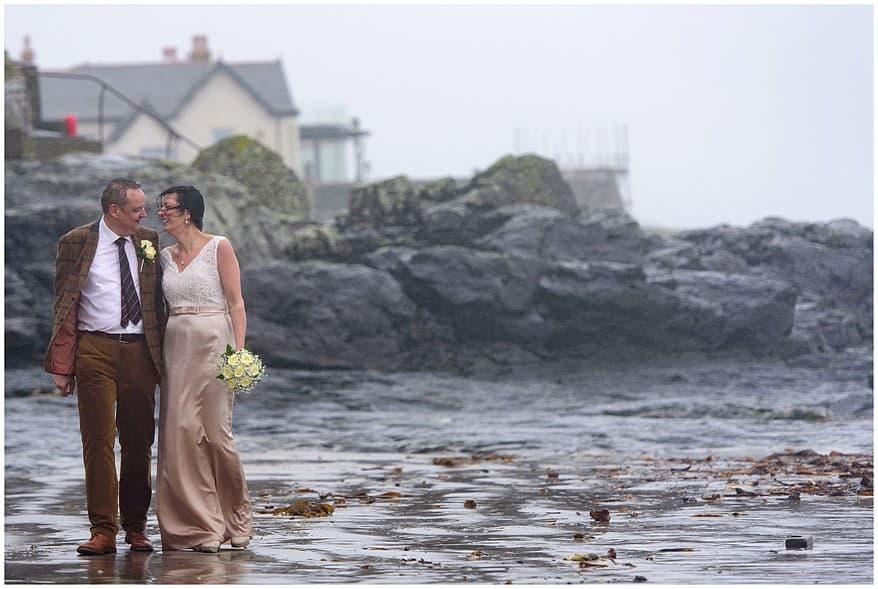 rainy wedding in Cornwall