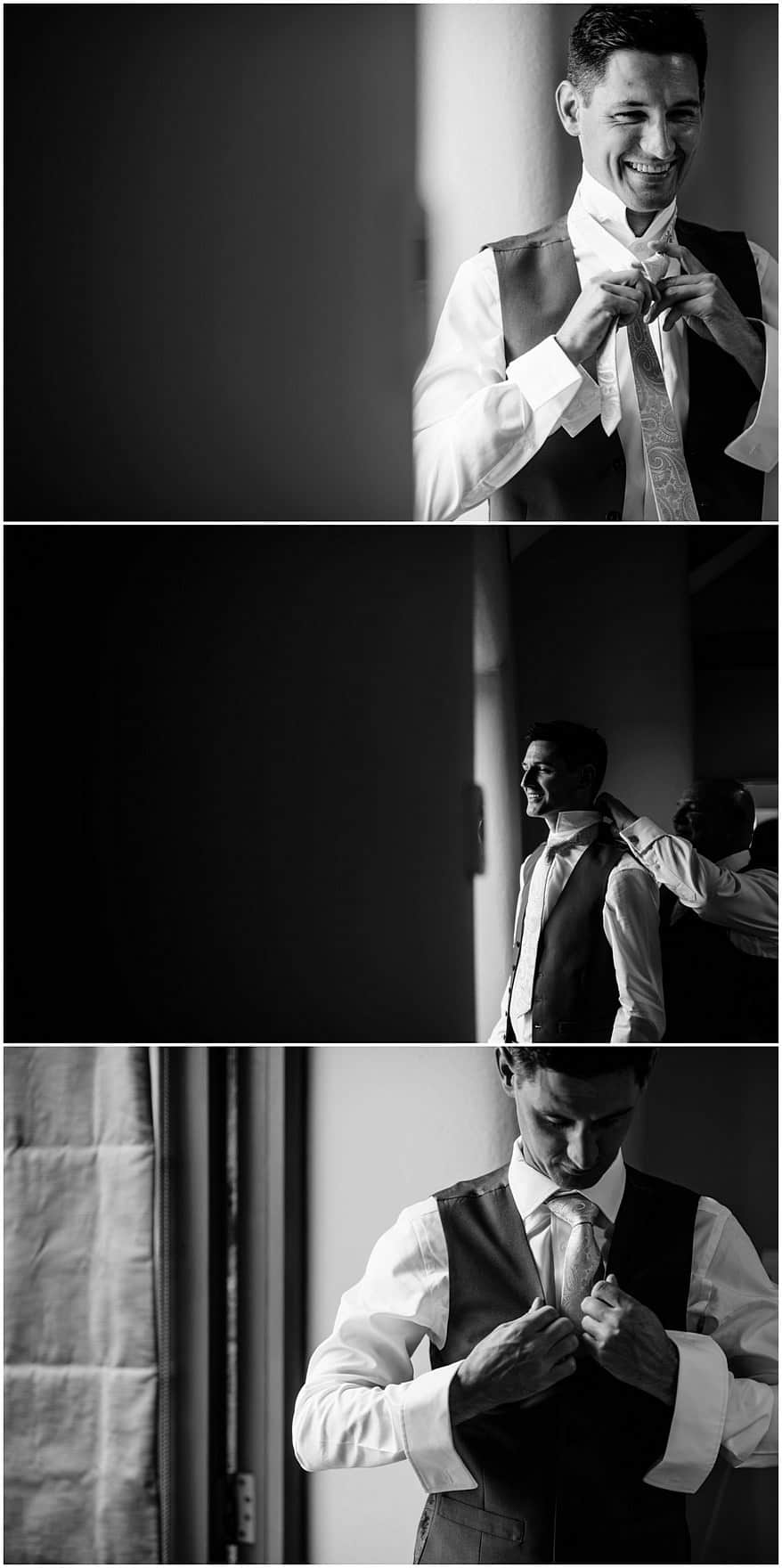 Stunning groom preperation at Trevenna barns