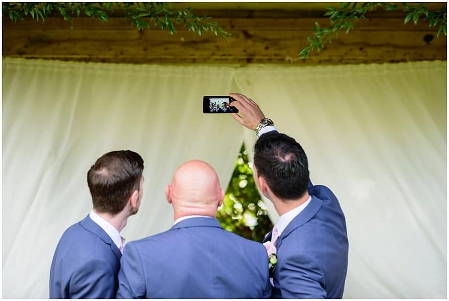 selfie just before the ceremony at Trevenna barns