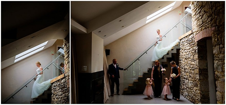 bride walking down the famous stairs at Trevenna barns