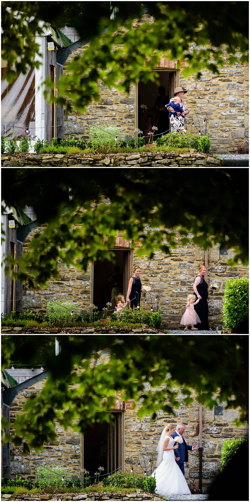 Bridal party walking to the arbour for a trevenna barns wedding