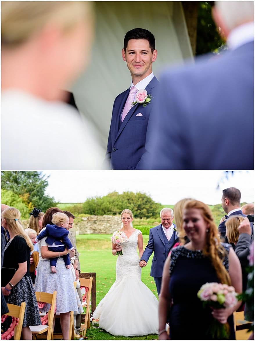 the first look at the bride at Trevenna barns