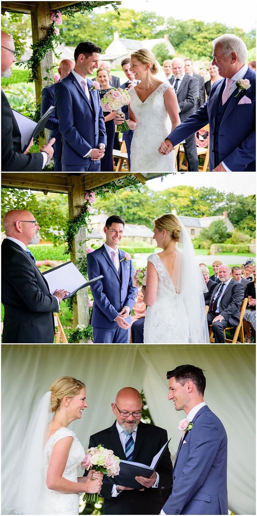 wedding ceremony at Trevenna barns