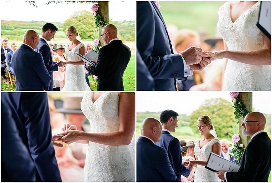 the exchange of wedding rings at trevenna barns