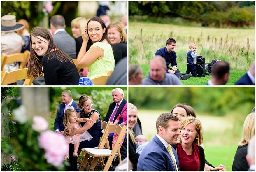 candid wedding photographs of guest at Trevenna barns