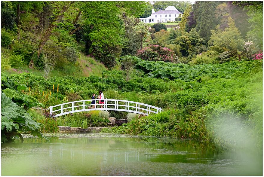White bridge wedding proposal at Trebah gardens