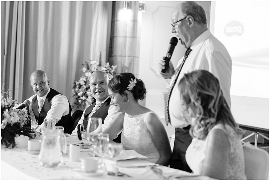 candid moments during the wedding speeches at the alverton hotel 50