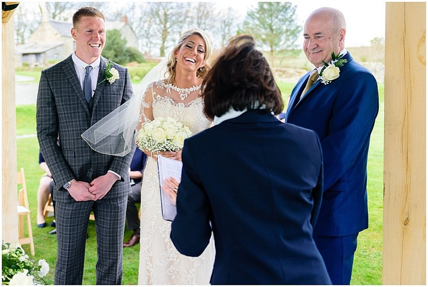 candid moments during the ceremony at trevenna barns 29
