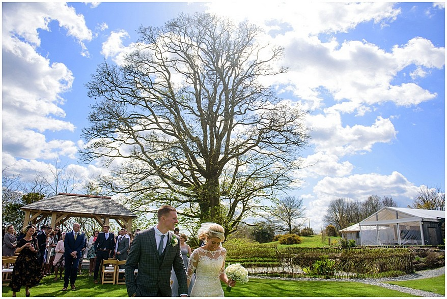 wedding on the lawn at trevenna barns in cornwall