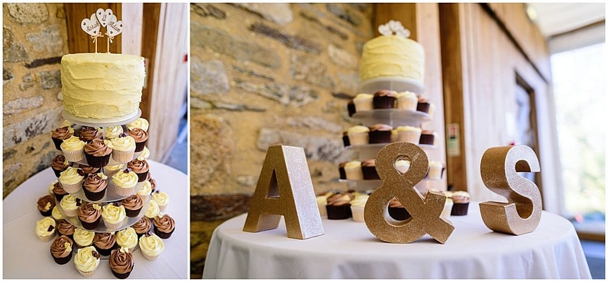 wedding cup cake cake at trevenna barns in cornwall