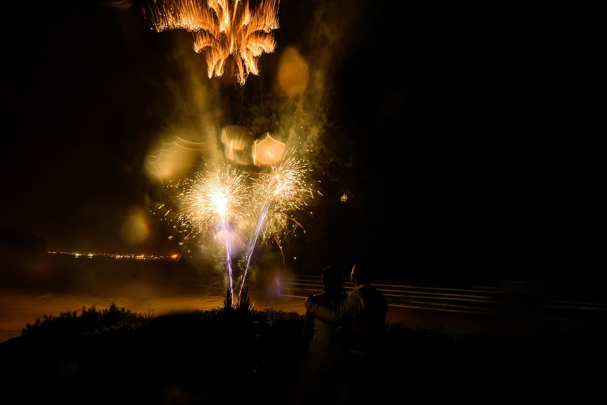 beach fireworks at Watergate bay hotel