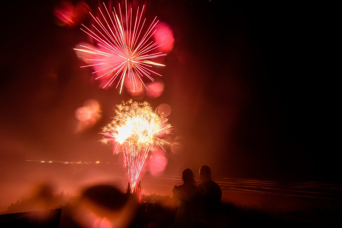 fireworks at a watergate bay hotel wedding