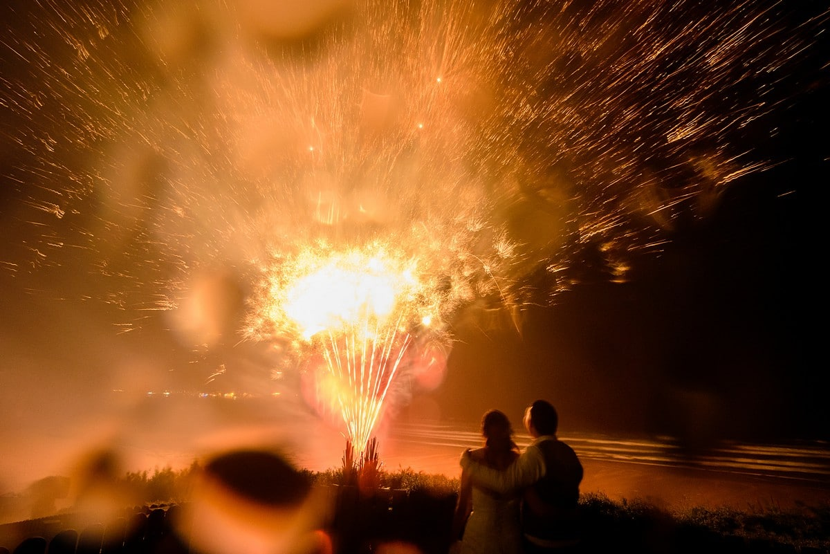 watergate bay hotel wedding fireworks