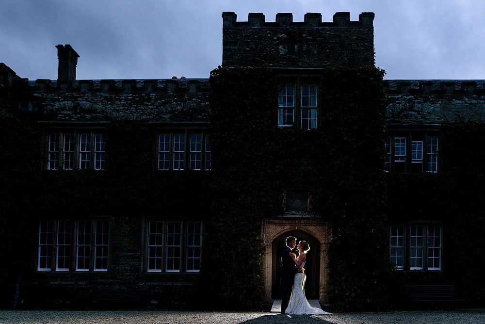 Bride and Grooms first kiss at Prideaux Place 1