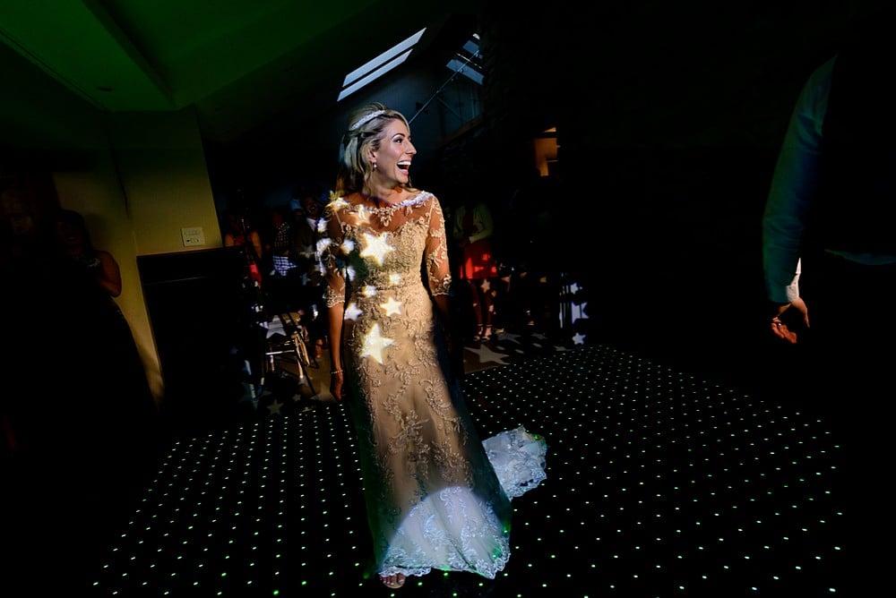 Happy Bride at her wedding at Trevenna Barns 1