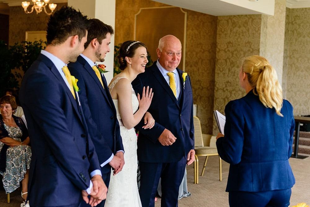 Happy Bride at a St Ives Hotel wedding 1