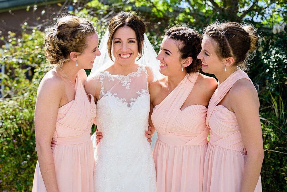 Beautiful bride and bridesmaids at a Falmouth wedding 1