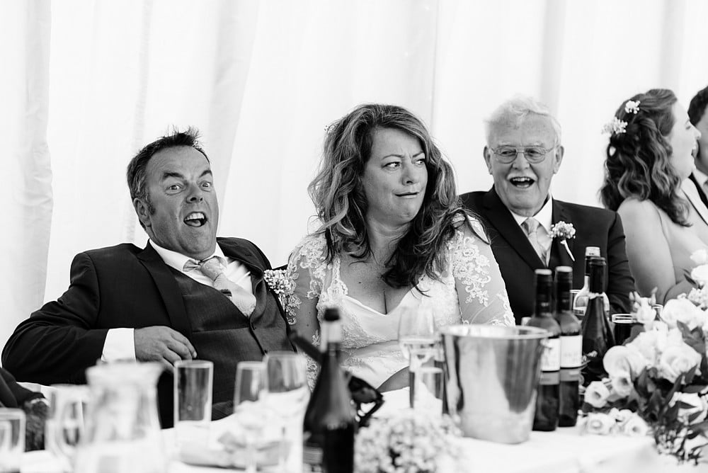 Wedding speeches in a marquee in Cornwall 1