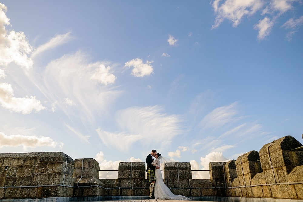 Bride portraits on top of Pendennis Castle in Falmouth 1