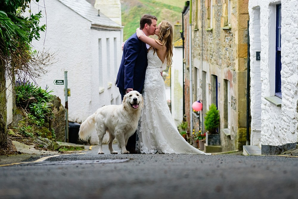 Wedding couple with their dog in Cornwall 1