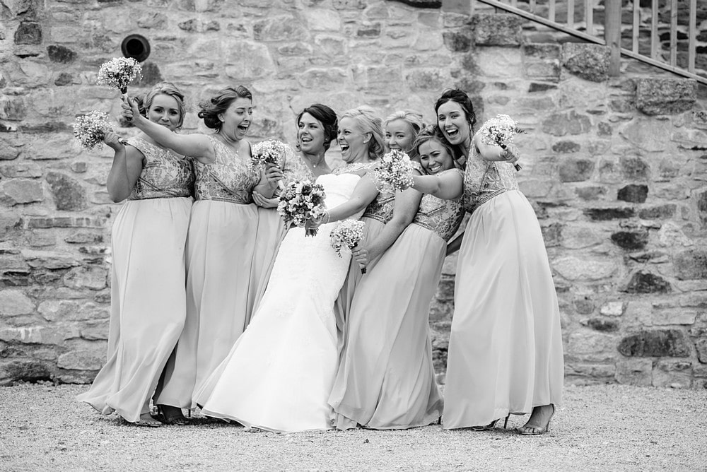 Bride and bridesmaids at Nancarrow Farm in Cornwall 1