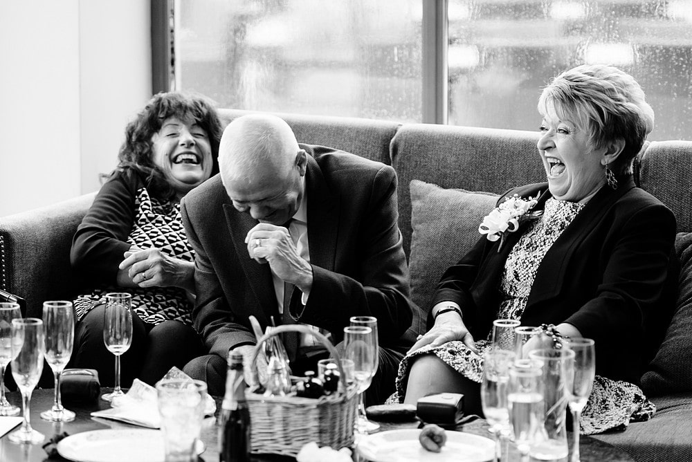 wedding guest laughing at a cornish wedding 1