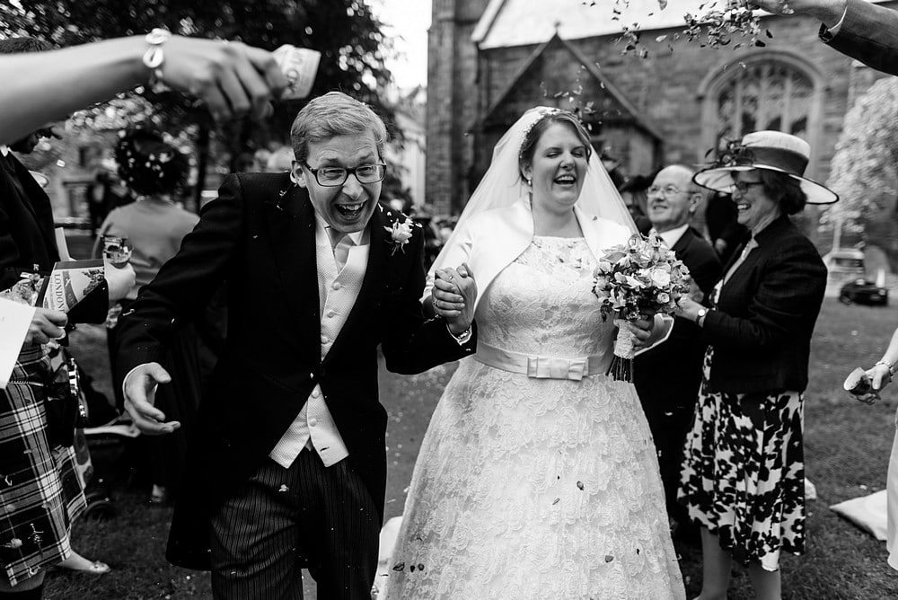 Candid confetti wedding photography Cornwall 1
