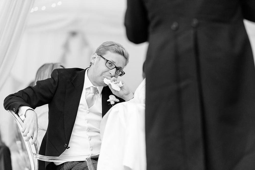 Emotional Groom at a Devon wedding 1
