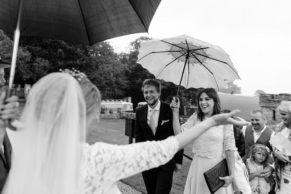 Happy wedding guests at a Prideaux Place wedding 1