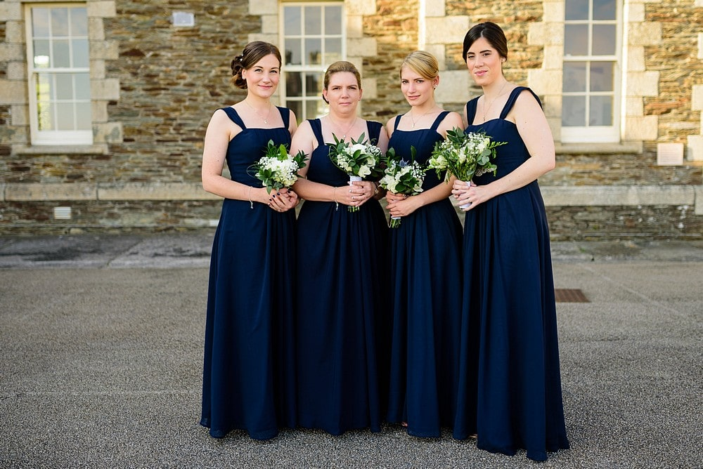 Bridesmaids waiting for the bride at Pendennis Castle
